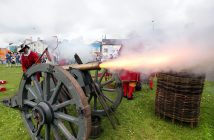 General views of the re-enactment of the Siege of Carrickfergus Castle and the landing of King William at Castle Green, Carrickfergus. The event included re-enactment groups from across the Northern Oteland, all dressed in period costume followed by a Pageantry parade to meet King William upon his landing at Carrick Harbour. Credit: Kelvin Boyes / Press Eye.