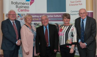 Ballymena Business Centre has launched a new Enterprise Strategy to further develop Ballymena as a thriving and vibrant economic area driven by enterprise and entrepreneurship. Pictured are (from left to right) Kathryn Hamilton of Day and Age Films, Emmett Martin of Martin Hurls, Jennifer Davison of Jens Sketches alongside Melanie Christie Boyle, Chief Executive of the Ballymena Business Centre.