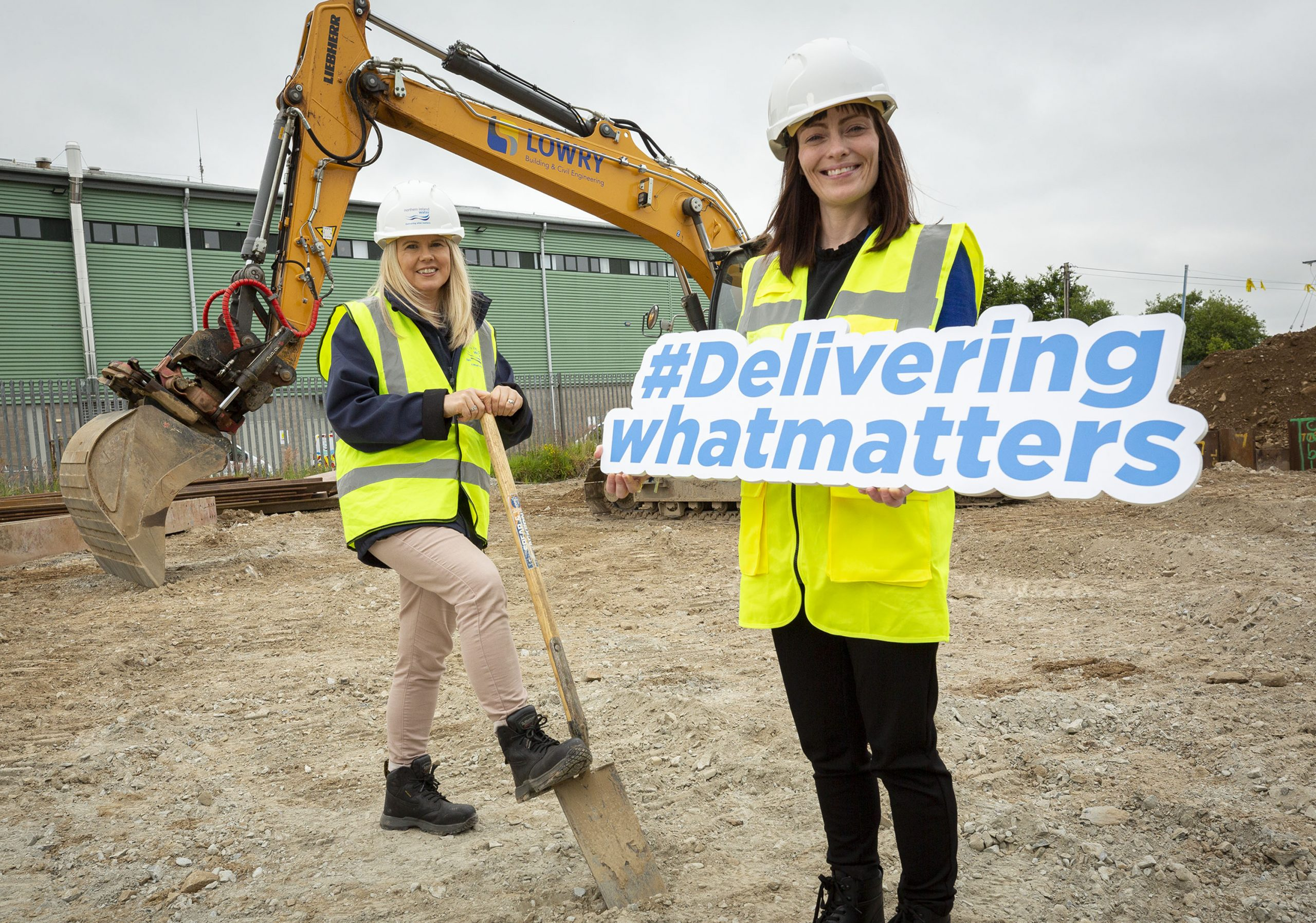 Minister Mallon is pictured with Sara Venning NI Water Chief Executive and representatives from NIW and Lowry Contractors.
