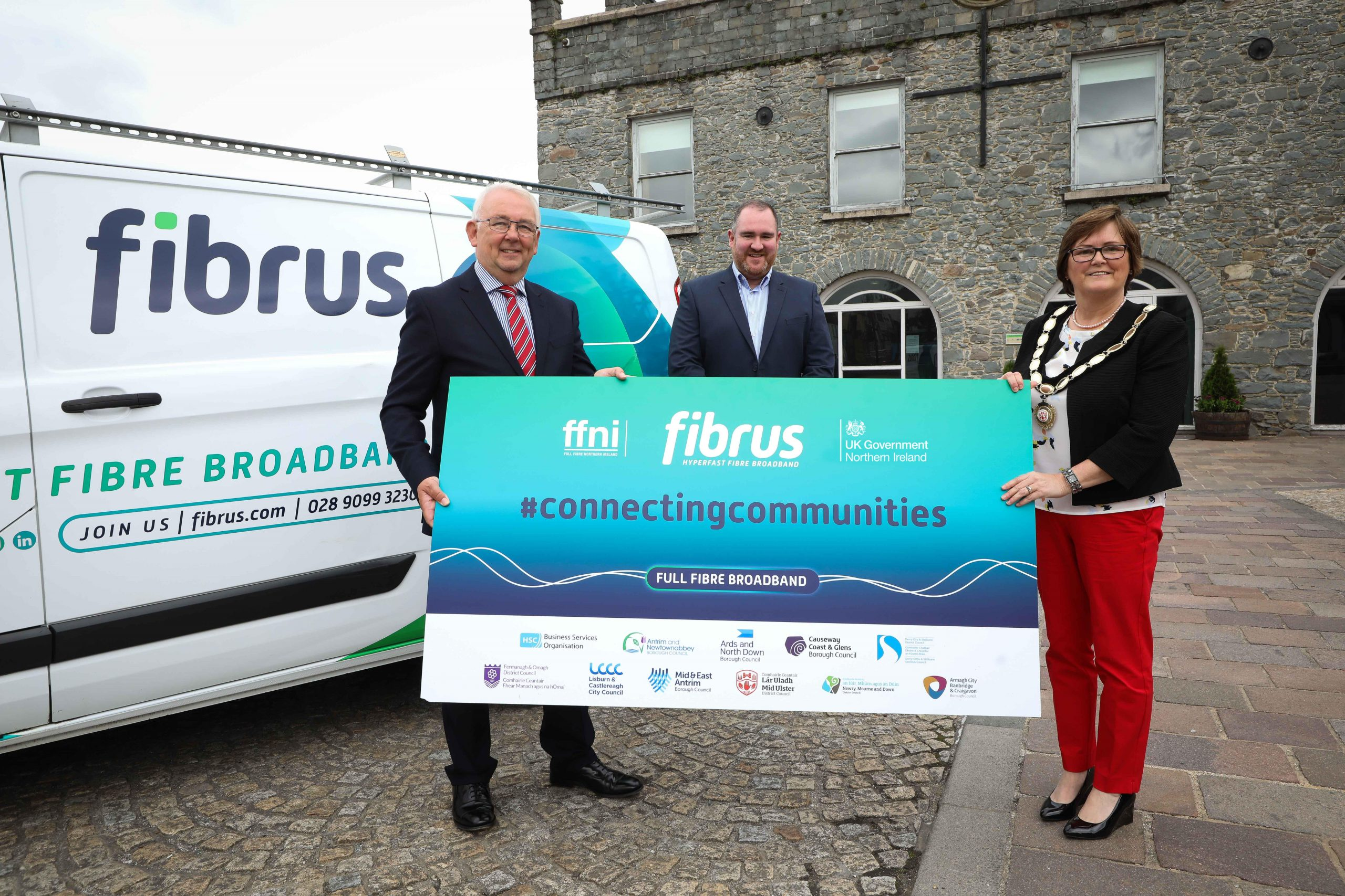 DCMS Project Director, Billy McClean, Fibrus Chief Executive Dominic Kearns and Deputy Chair of Mid Ulster District Council, Councillor Christine McFlynn